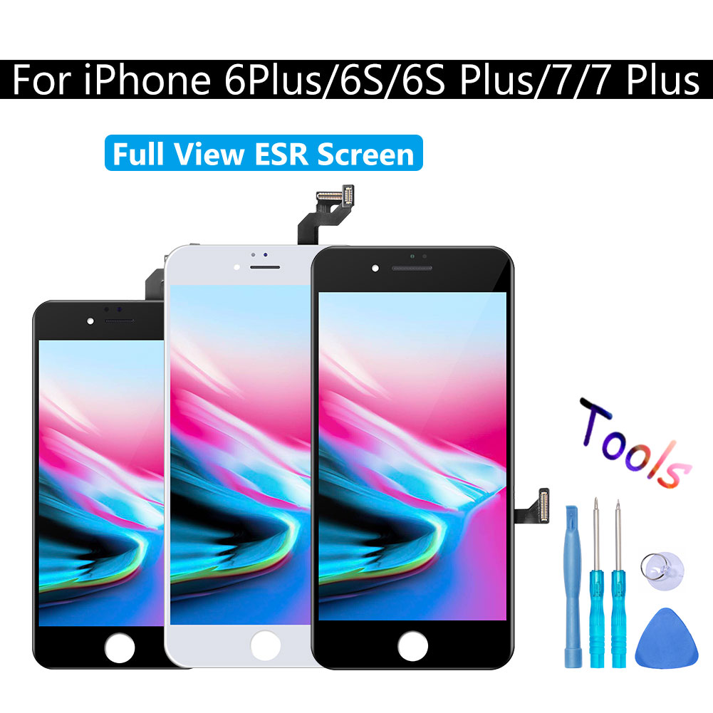 Display LCD Montagem Digitador Da Tela de Toque Visão Completa ESR AAAA + Para iPhone 6 7 6S PLUS Substituição Preto & White Nenhum Pixel Morto