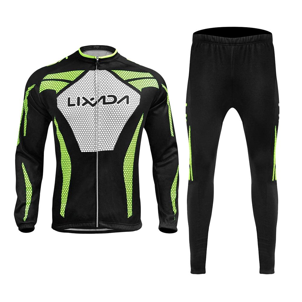 Men/'s Winter Cycling Kit Long Sleeve Cycle Jersey /& Padded Bike Long Pants Set