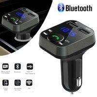 Carregador de carro 12v fm transmissor universal duplo usb carregamento rápido carro mp3 player música para iphone para samsung para xiaomi