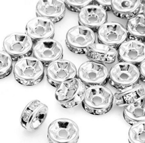 6mm 8mm 10mm 12mm white Crystal uij3 Rhinestone Rondelle Spacer Silver Plated mental DIY Jewelry Making Bracelet accessories