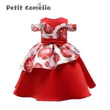 Summer Girl Dress Strapless Irregular Lotus Leaf Skirt Print Children Dress Birthday Literary Show Wedding Party Children Dress цена 2017