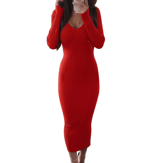 Sexy Women Long Sleeve V Neck Backless Ribbed Bodycon Sliming Knitted Midi Dress Party Dress Vestidos summer dress 3