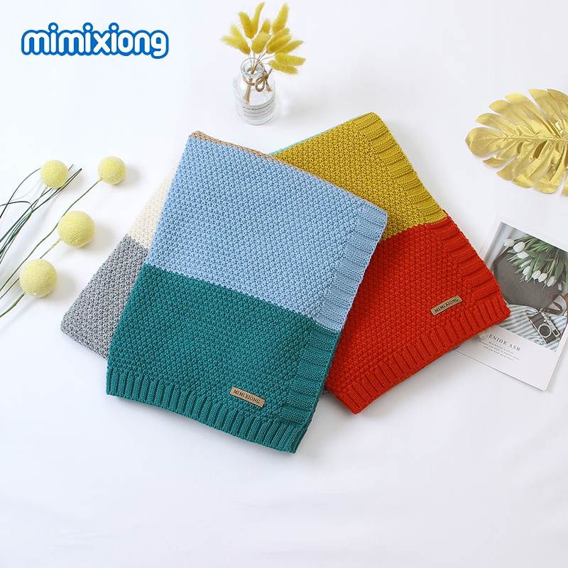 Baby Blankets Newborn Infant Bebes Swaddle Wrap Stroller Covers 100*80cm Toddler Kids Sofa Bedding Crib Quilts Polyester Knitted