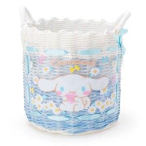 Image 2 - Cute Cartoon Little Twin Stars My Melody Plastic Woven Rattan Storage Basket Cosmetic Sundries Grocery Organizer Basket Bucket
