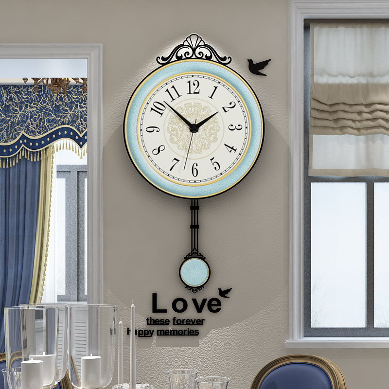Vintage Europe Style Swingable Wall Clock Modern Design Living Room Hanging Pendulum Clocks Watch 3D Free Shipping Home Decor