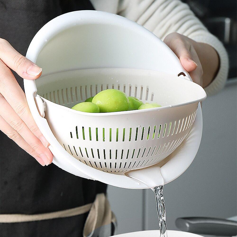 Kitchen Double Drain Basket Bowl Rice Washing Colander Basket Strainer Noodles Vegetable Fruit Storage Basket Kitchen Tool  Sw18