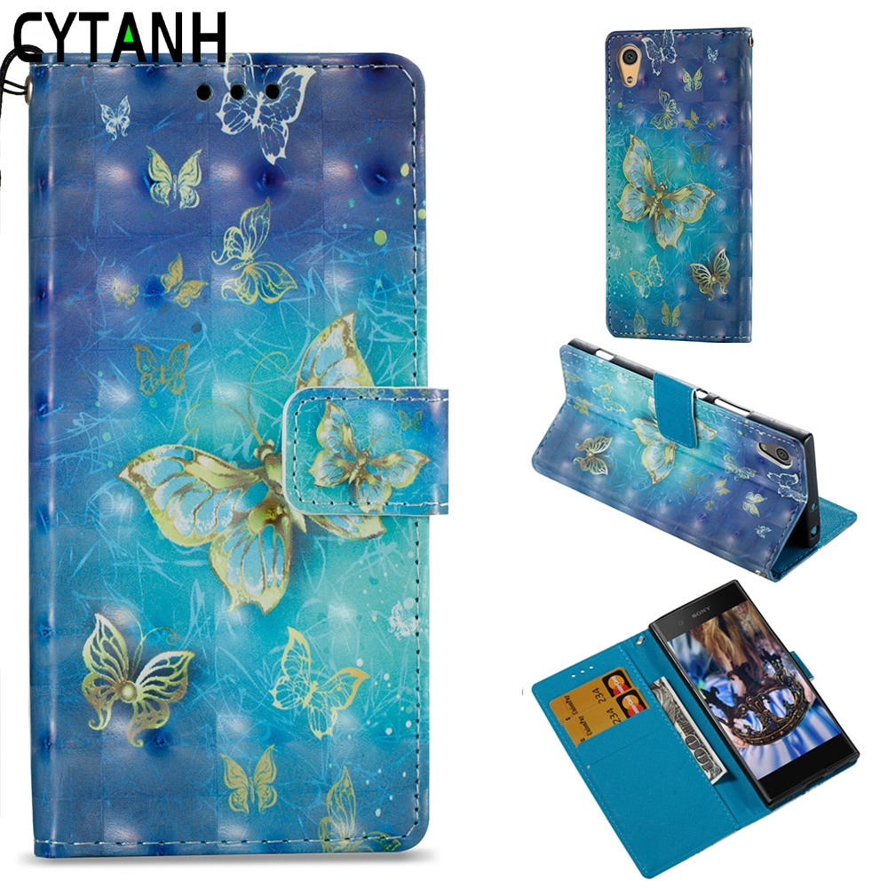 Luxury 3D Butterfly Book Shell Case For <font><b>Sony</b></font> Xperia XA 1 Flip Leather Cover With Card Slots ForSony Xperia XA1 Dual <font><b>G3112</b></font> G3116 image