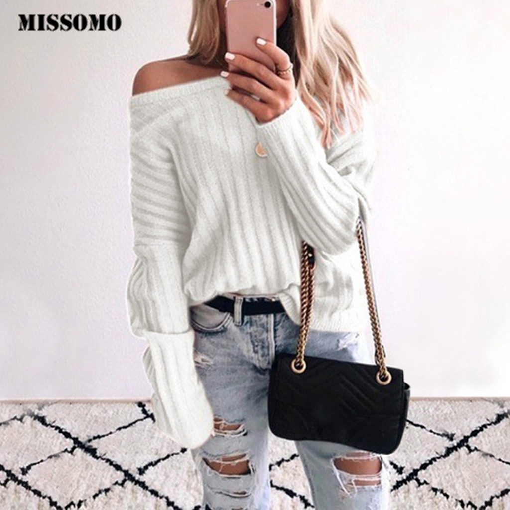 MISSOMO Sweater Women Pull Femme Skew Collor Pullover Long Sleeve Plus Size Winter Clothes Women Top Sueter Mujer Invierno 2019