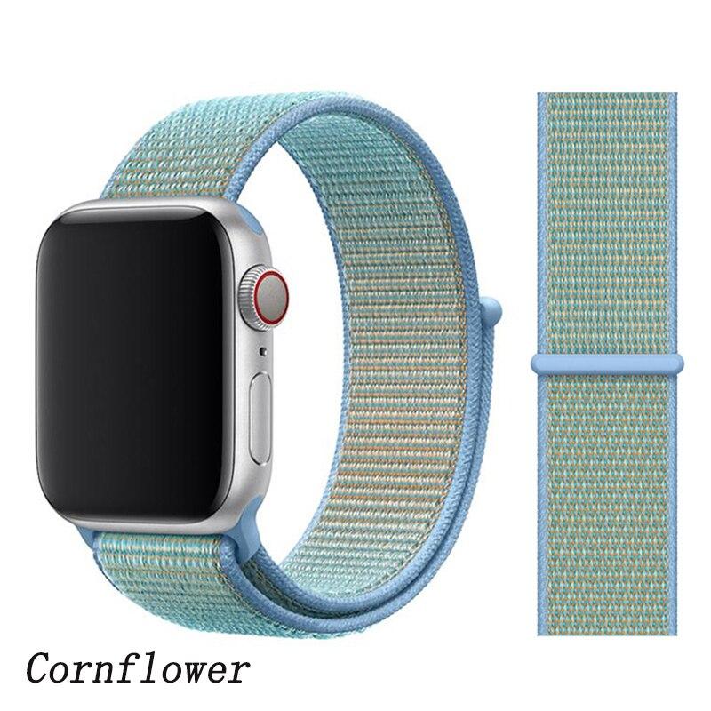 Спортивная петля ремешок apple watch band 42 мм 38 мм apple watch 4 3 band iwatch band 44 мм 40 мм correa pulseira 42 44 нейлоновый ремешок для часов - Цвет ремешка: Cornflower N3