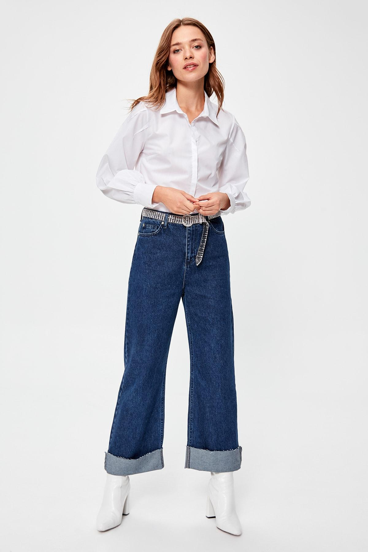 Trendyol Blue Pettitoes Folding Detailed High Bel Wide Leg Jeans TWOAW20JE0177