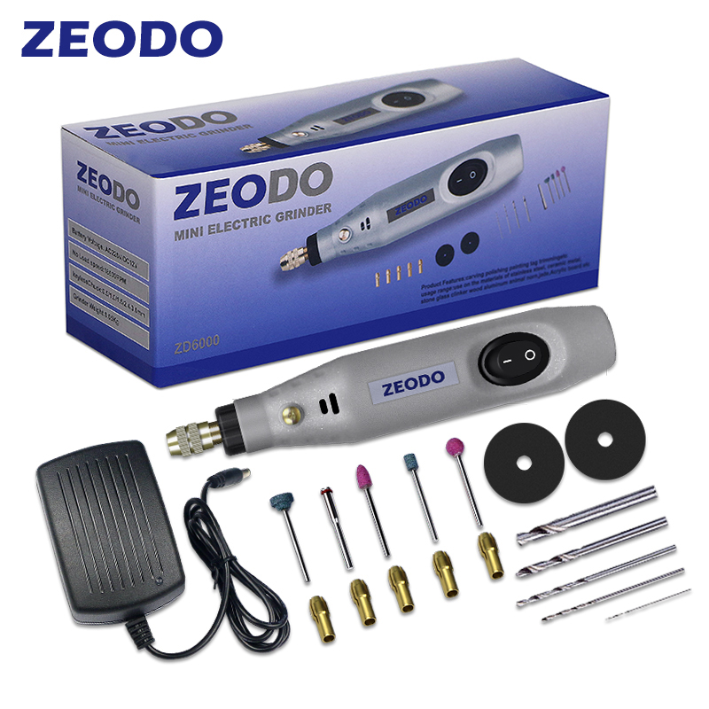 Zeodo ZD6000 Mini DIY Electric Grinder Drill Grinding Set Power Rotary Tools 2W-15W Wood Carving Engrave Pen DC 12V  AC100-240V