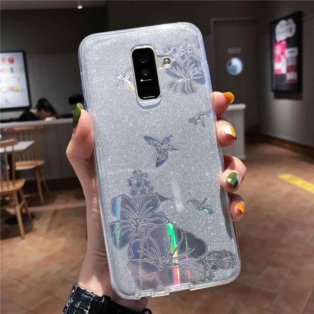 360 ön arka kelebek çiçek Glitter TPU samsung kılıfı Galaxy S9 artı S10 5G S10E not 10 9 8 kapak yumuşak tam telefon kılıfları