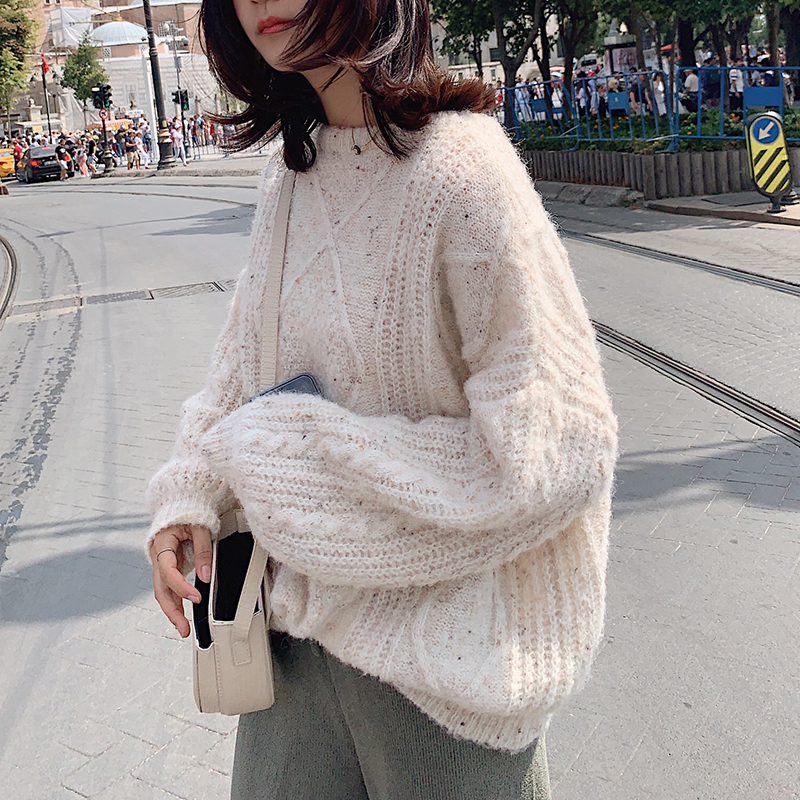 MISHOW 2019 New Korean Loose Style Vogue Solid Color Long Sleeve Streetwear Women Knitting Sweater MX19C5549