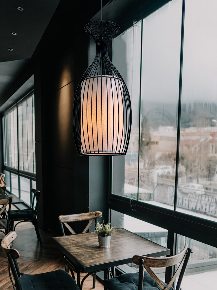 Industrial Chinese Pendant Lights Wrought Iron Bird Cage Cloth Art Lamp Personality Restaurant bar coffee shop Hanging Light