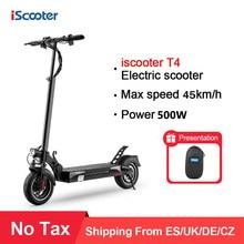 Trottinette électrique pliable de 10 pouces, 48V max 45 km/h, pneus tout-terrain pour adultes, mise à niveau, batterie à moteur puissante de 500W, scooters T4 e