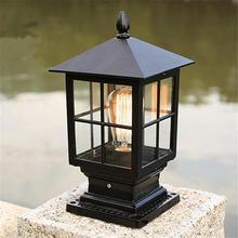 Post-Light Glass-Shade Exterior Black-Finish Outdoor E27 for Pathway Walkway Pillar Lantern