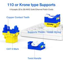 AMPCOM 10-Pack CAT6 RJ45 Tool-Less Keystone Jack, No Punch Down Tool Required UTP Module Connector Yellow
