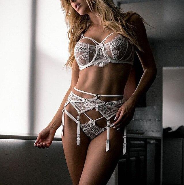 Sexy Dessous Set Frauen Unterwäsche Set Spitze Push up Transparent 3 Stück Set Erotische Dessous 2