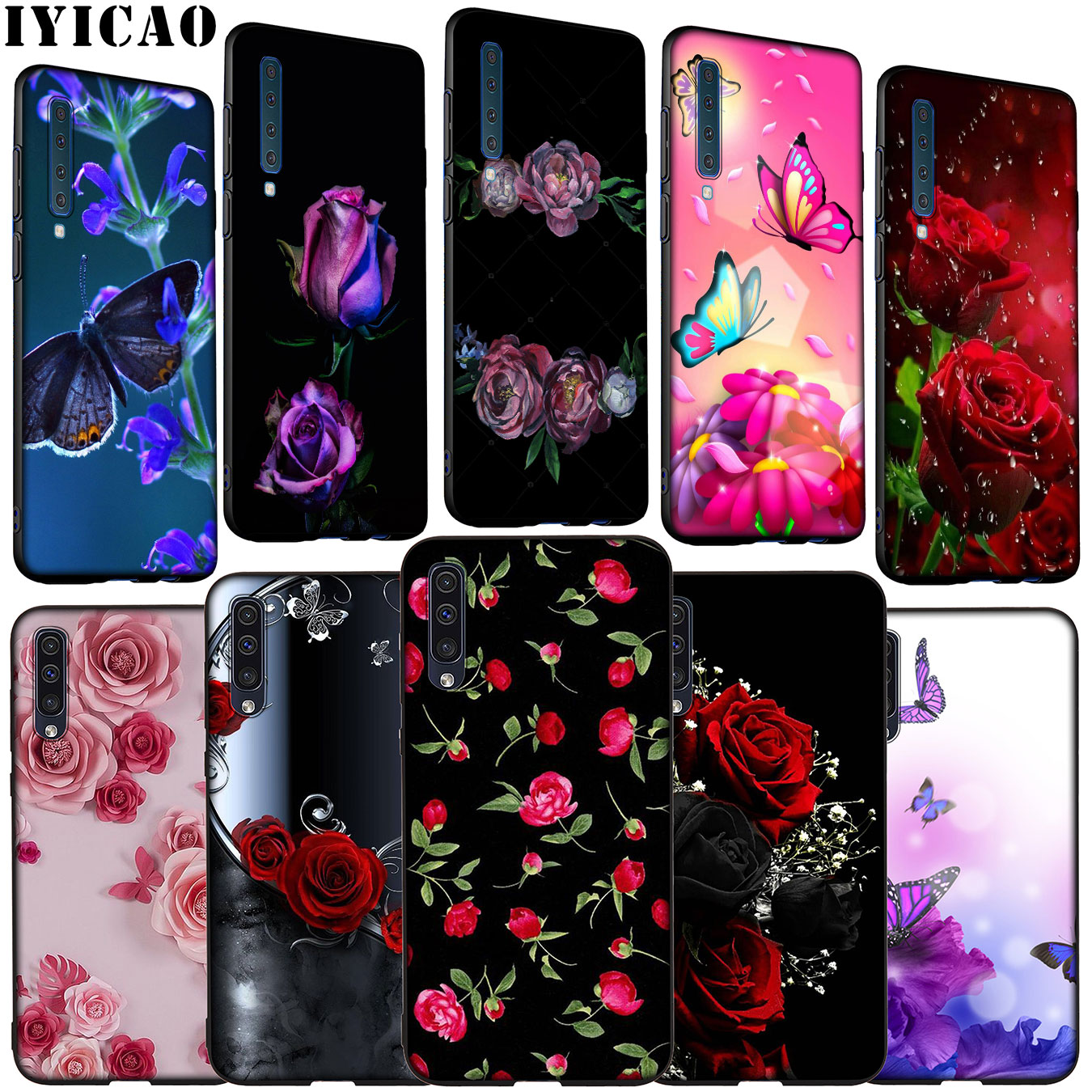 IYICAO <font><b>flower</b></font> red Pink rose Colorful Soft Silicone <font><b>Case</b></font> for <font><b>Samsung</b></font> <font><b>Galaxy</b></font> <font><b>A70</b></font> A60 A50 A40 A30 A20 A10 M10 M20 M30 M40 A20E image