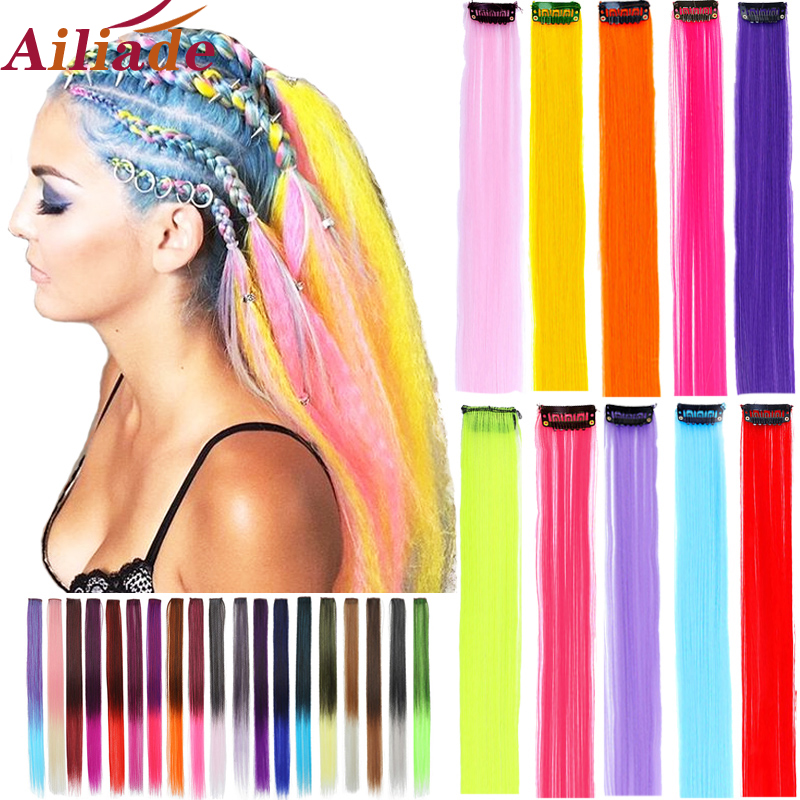 AILIADE Highlight Straight Heat Resistant Hair Extensions Clip In Highlight Rainbow Hair Streak Synthetic Hair Strands Hairpiece