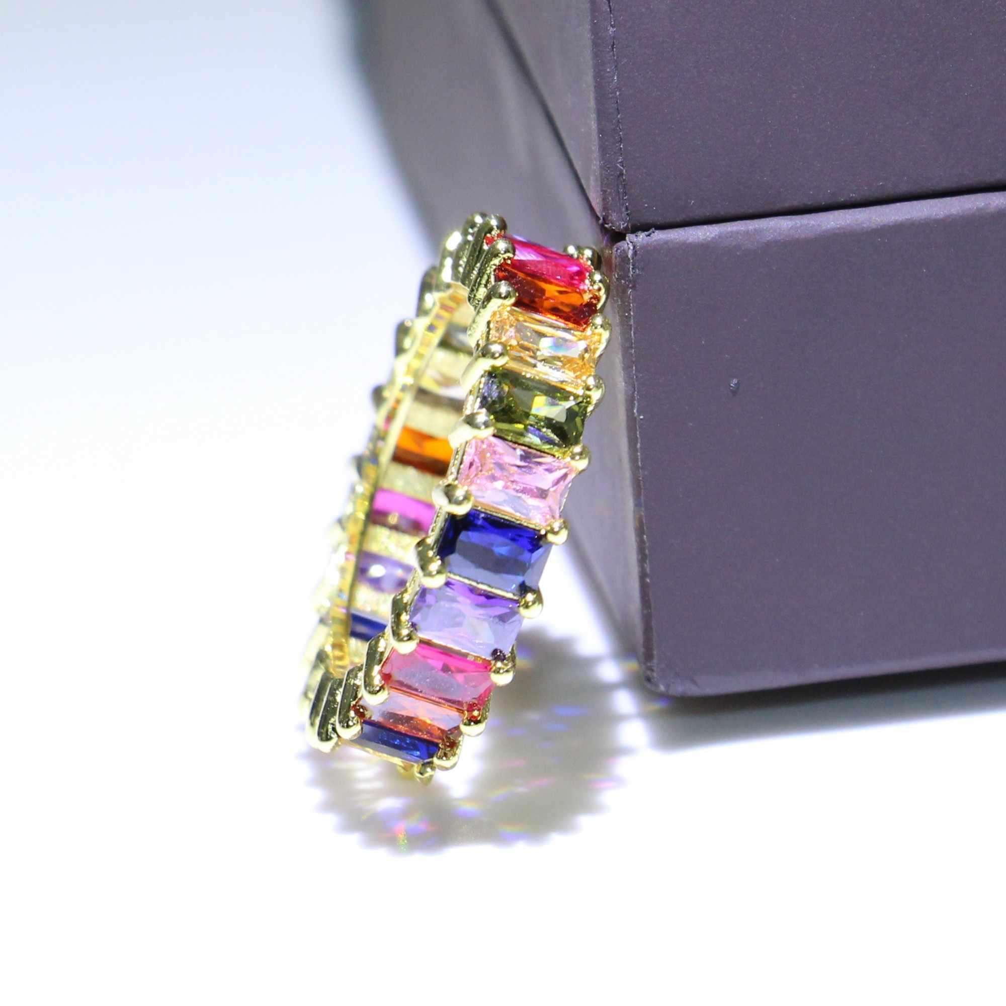 Rulalei ที่ไม่ซ้ำกันแฟชั่นเครื่องประดับ 925 Silver & Gold เติม 5A Cubic Zirconia แหวน Full CZ งานแต่งงานแหวนสำหรับสตรี