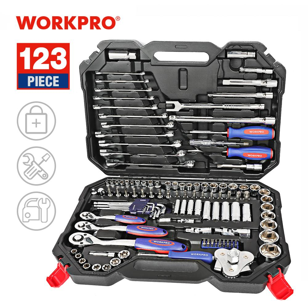 Workpro Alat Set Hand Tools untuk Perbaikan Mobil Kunci Pas Ratchet Kunci Socket Set Profesional Sepeda Perbaikan Alat Kit