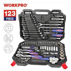 Workpro conjunto de ferramentas para reparo, conjunto de ferramentas manuais para reparo de carro, conjunto de chaves, kits profissionais para reparo de bicicletas e carros