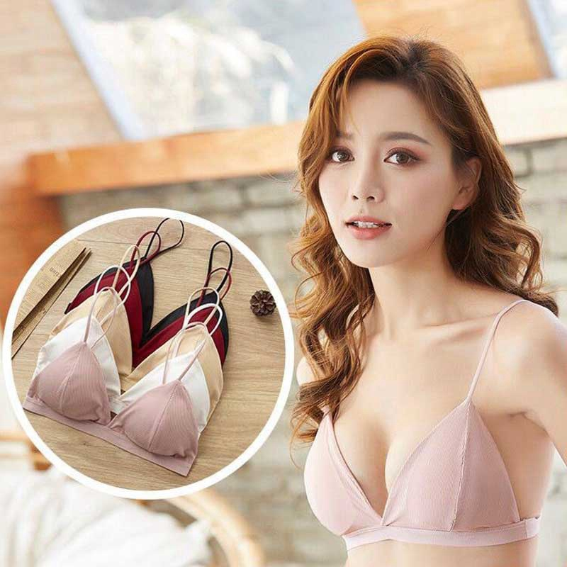 French Triangle Cup Bra Thread Thin Shoulder Strap Beauty Back Bra Sexy Deep V-Neck Solid Color Tube Top Cotton Spandex Bra