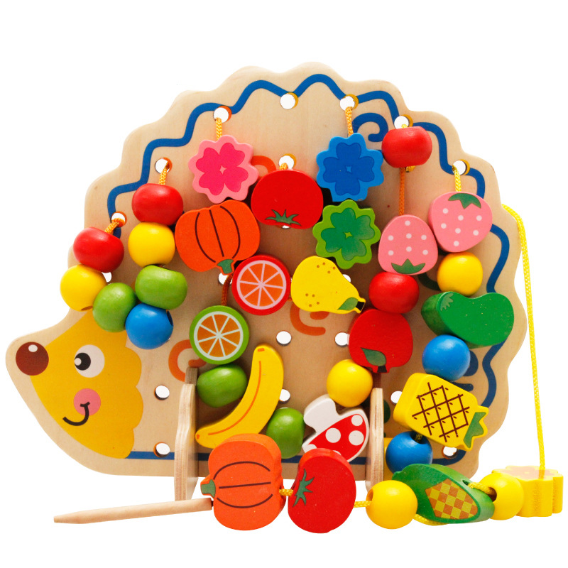Wooden Beads Toys Kids Montessori Educational Fruits Vegetables Lacing Stringing Toys With Hedgehog DIY Wooden Toys For Children