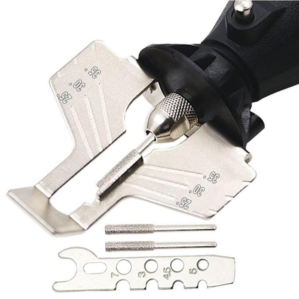 HSS Chain Saw Sharpener Attachment Electric Chain Grinder Chainsaw Sharpening Polishing Head With Ruler Accessory Kit