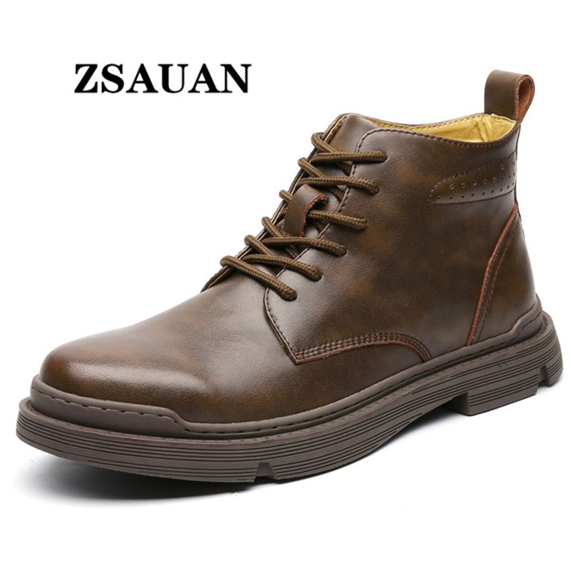 ZSAUAN Dropshipping Big Size 38-48 Men's Retro Leahter Boots Top Class Vintage Men Casual Men Shoes Military Work Boots Safety