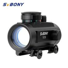 Svbony 1x30mm vista tático vermelho verde dot riflescope cinco ajuste de brilho reflexo vista scope com 20mm montagem em trilho f9148a
