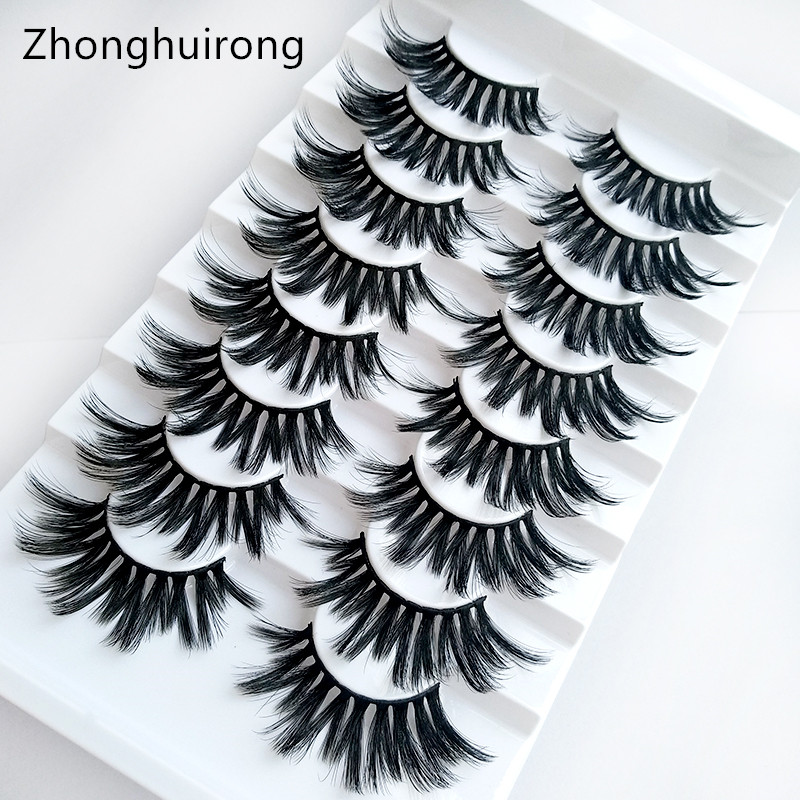 8 Pairs Of Handmade Mink Eyelashes 5D Eyelashes Thick Multilayer Soft Eyelashes Natural Eyelash Extension Extension Makeup