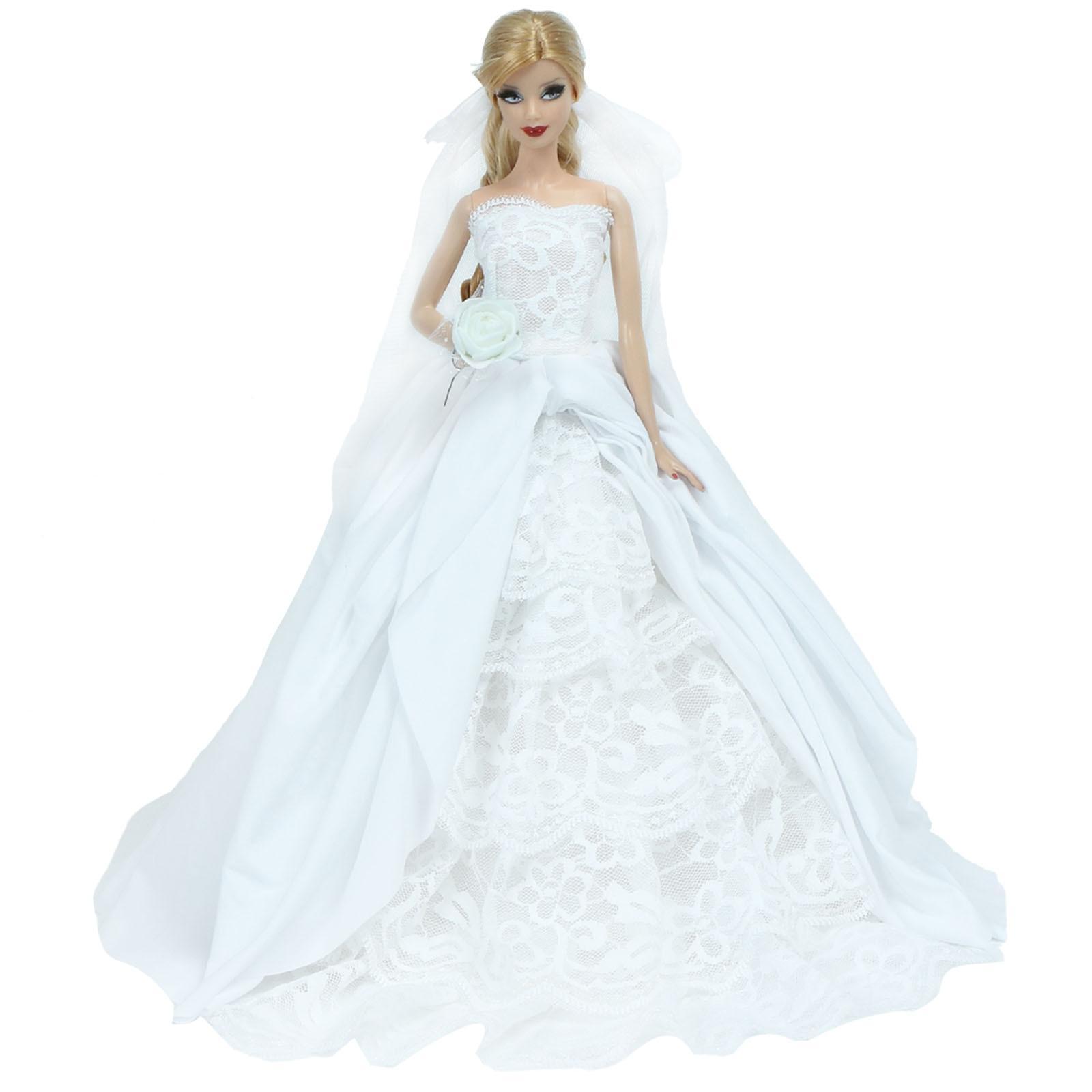 Vestido de fiesta de boda de alta calidad Falda de novia Vestido de princesa con velo Accesorios de matrimonio de moda Ropa para muñeca de Barbie Juguete