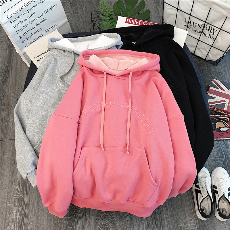 Hoodies Women Hooded Letter Simple All-match Leisure Oversize Pullovers Korean Style Warm Kawaii Womens Loose Trendy Clothing