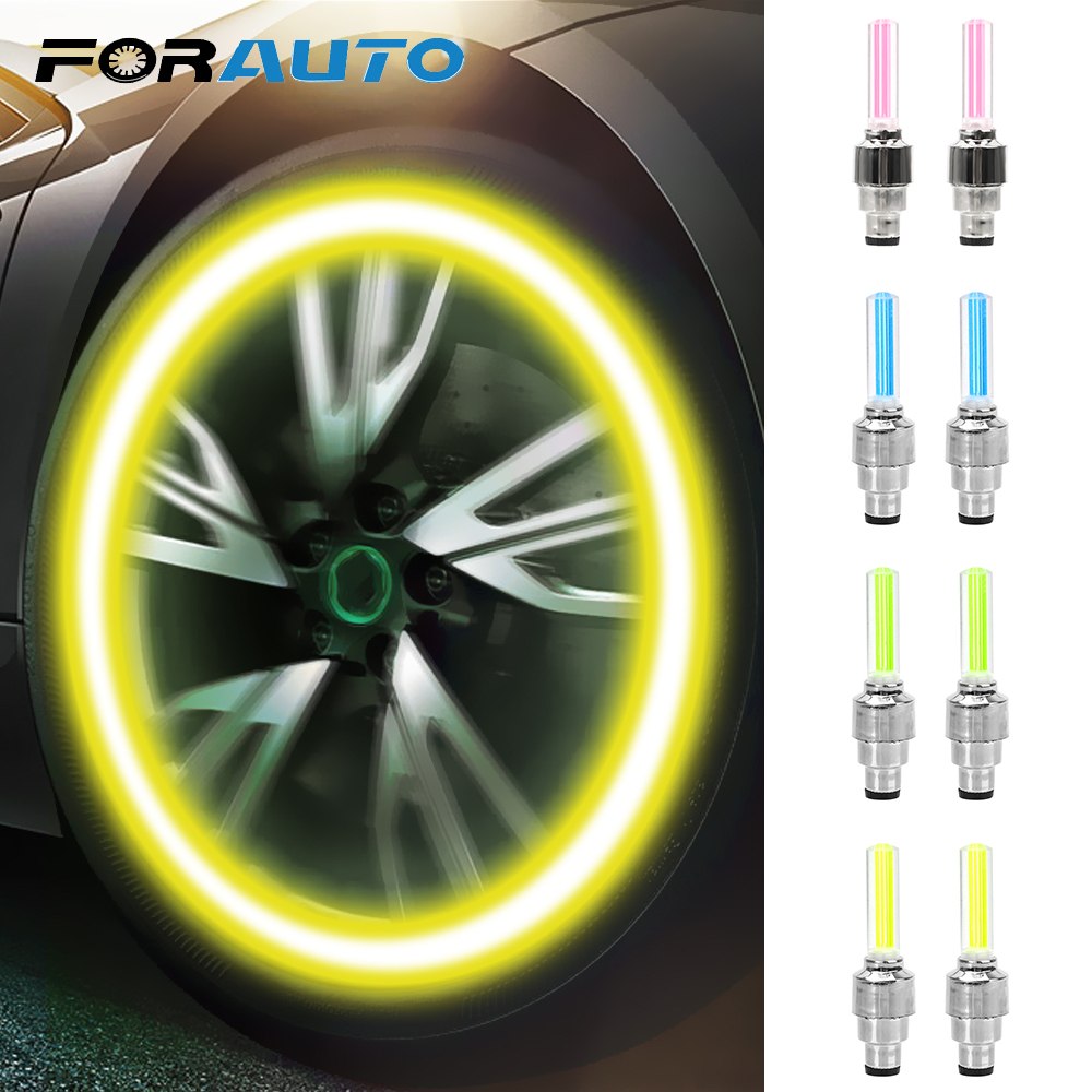 FORAUTO 2Pcs Car Wheel Tyre Cap Lamp Flash Valve Sealing Cap Auto Moto Bike Decoration Atmosphere Light Accessories Car-styling
