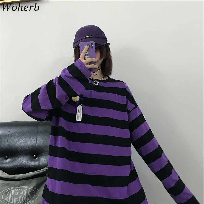 Woherb Harajuku Hoodies Women Vintage Purple Striped Sweatshirt 2020 Autumn Korean Loose Long Sleeve Shirts Gothic Streetwear