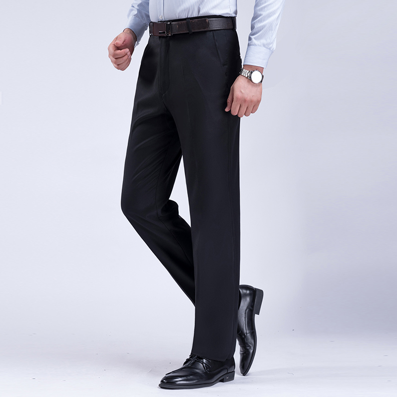 Autumn And Winter Thick Section Large Size Middle-aged And Elderly Mens Pants Straight Suit Pants Black Navy Blue Pants Men 40