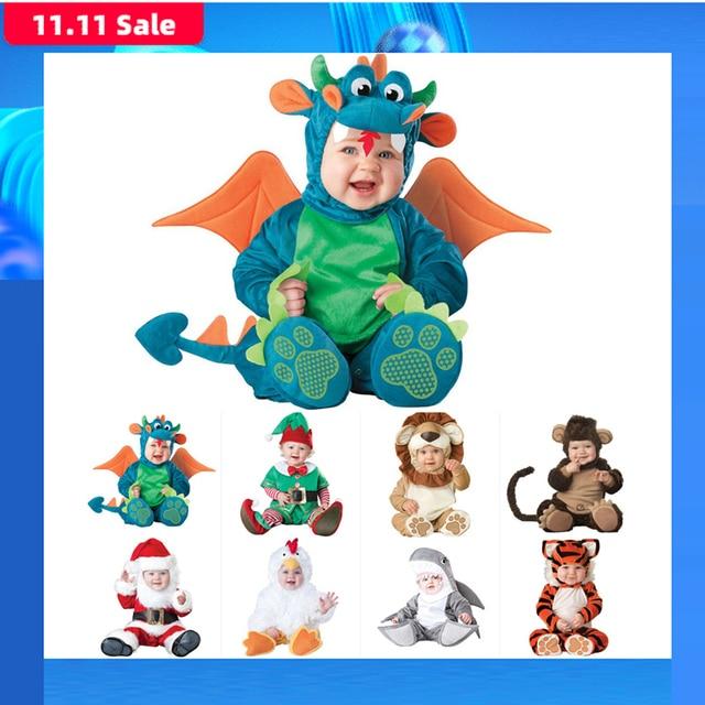 2019 ใหม่เด็กทารก Rompers ฤดูหนาวสัตว์โจรสลัดไดโนเสาร์เพนกวินซานตาคลอสกวางเด็กวัยหัดเดินคริสต์มาส Carnival ฮาโลวีนเครื่องแต่งกาย Elf