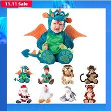 2019 neue Baby Strampler Winter Tier Pirate Dinosaurier Pinguin Santa Claus Deer Kleinkind Weihnachten Karneval Halloween Elf Kostüm