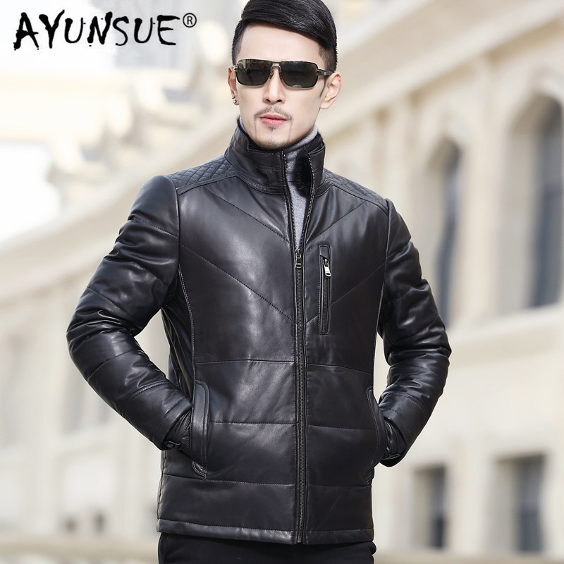 2020 Genuine Leather Jacket Men Autumn Winter Sheepskin Coat For Men Stand Collar Down Jackets A15DY1508 YY307