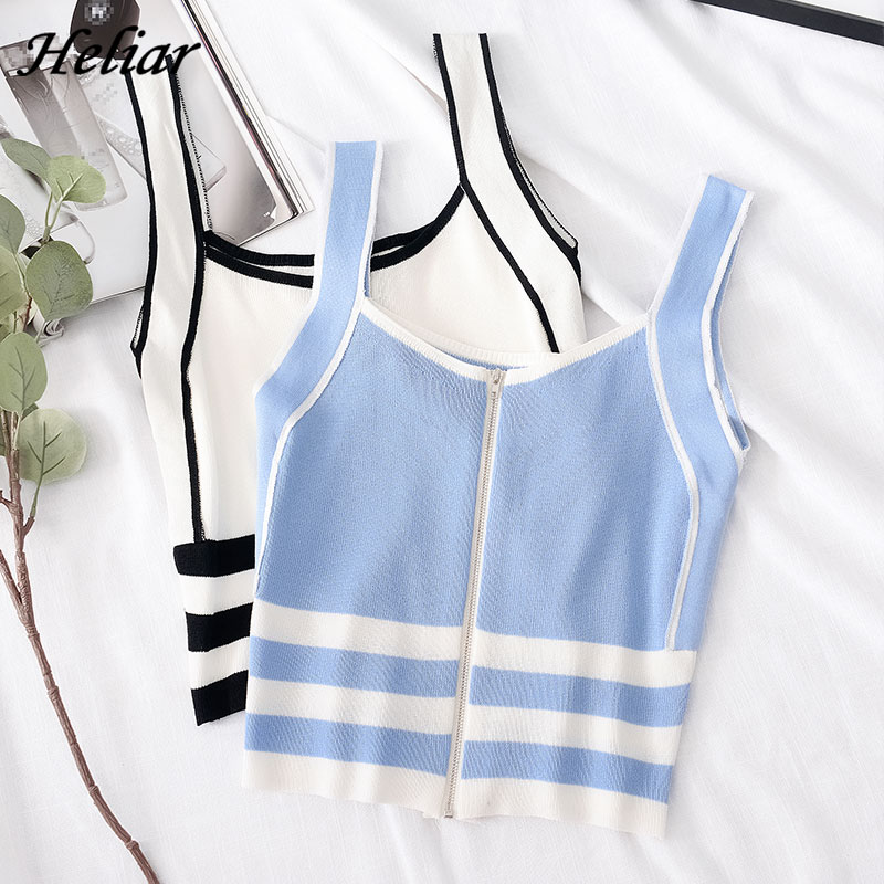 HELIAR Zipper Camis Striped Spaghetti Crop Top Femme Vest Tank Tops Femme Cotton Knitting Female 2020 Summer Camis For Women