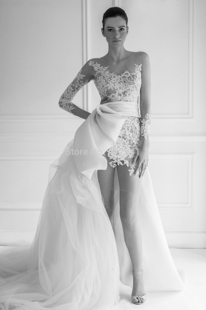 Chicest Hi-Lo Vestido De Noiva 2019 Wedding Dresses Trumpet Mermaid Sweetheart Applique Lace Ruffle Long Sleeve Bridal Gown