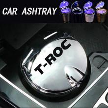 Для T-ROC TROC T ROC 2017, 18, 19, 20, автомобильный брелок с логотипом, пепельница светодиодный синий светильник пепельница офис пепельница сажи бак для ...