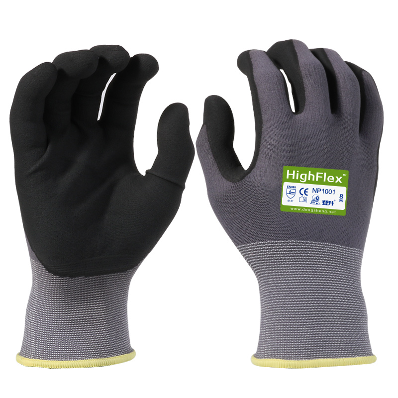 1 Pair Nitrile Safety Coating Work Gloves Palm Coated Gloves Mechanic Working Gloves Mens Work Gloves