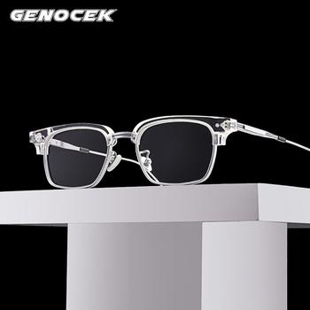 Luksusowe marki kwadratowe octanowe okulary optyczne ramki mężczyźni kobiety w stylu Vintage przezroczyste pół ramki okulary korekcyjne ramki okularów tanie i dobre opinie OUTMIX Unisex Stałe gxyj-184 FRAMES Okulary akcesoria