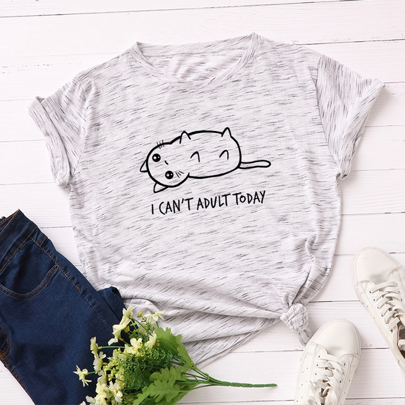 Women Cotton T-Shirt Graphic Tee Summer Tops Plus Size Short Sleeve Tees Slogan I Can't Adult Today Cartoon Cats Print T Shirts