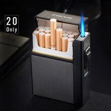 Mechero de antorcha de Metal para hombres, caja para cigarrillos, encendedor de Gas extraíble automático, capacidad de carga, 20 Uds.
