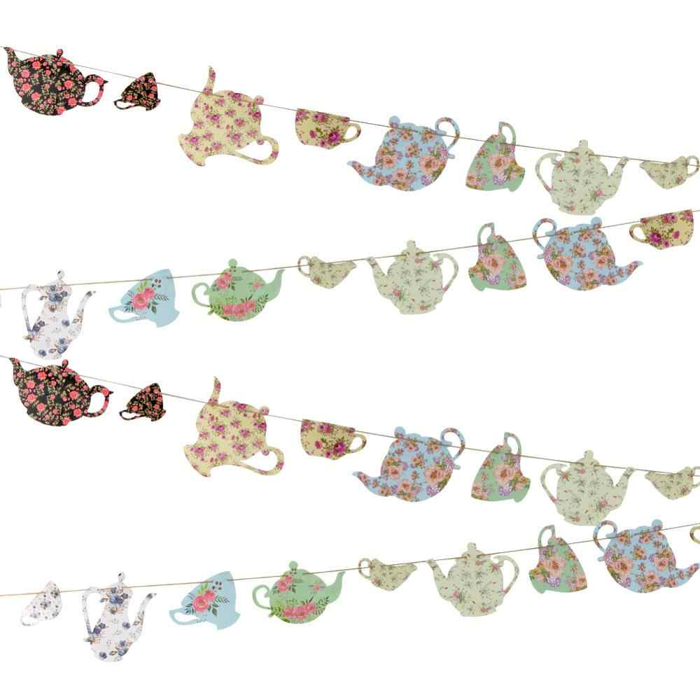 Floral Printable Tea Pot Tea Cup Banner Paper Craft Thanksgiving Day Mother's Day Tea Party Decor Birthday Garden Space Decor
