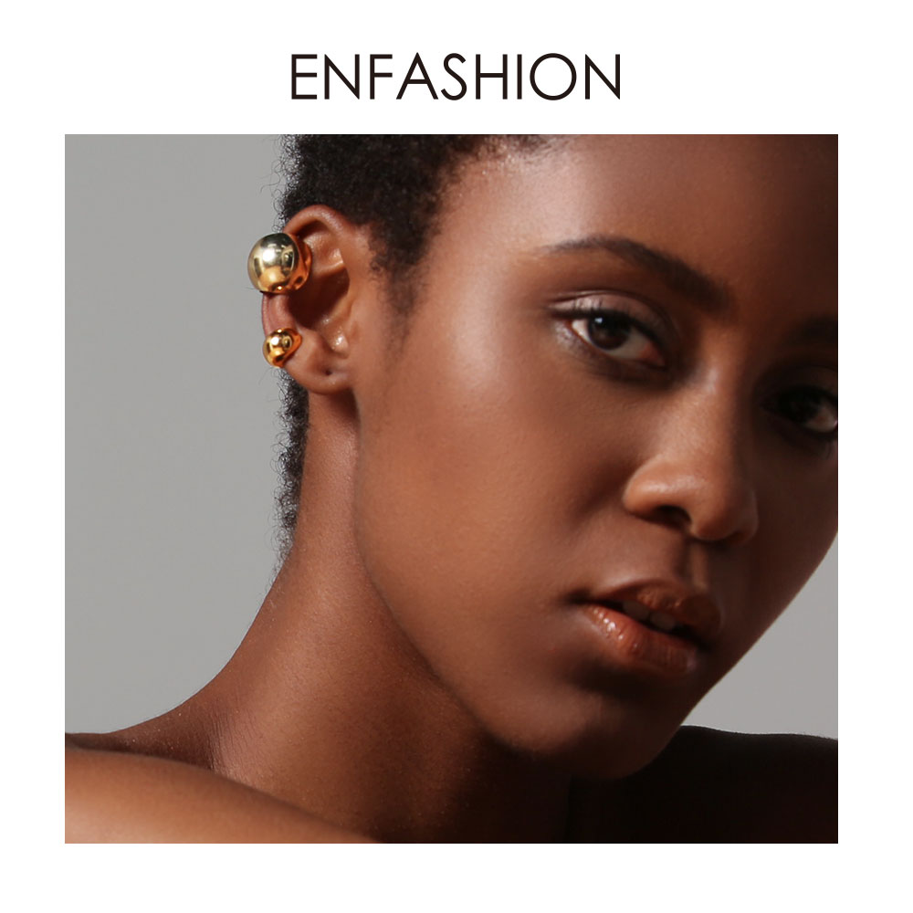 ENFASHION Punk Ball Ear Cuff Clip On Earrings For Women Gold Color Rock Pea Earings Without Piercing Pendientes Mujer EC191038